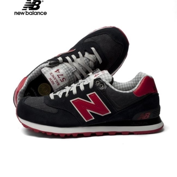 save off d9310 0983d New Balance 574 Red Black sneakers. Sz 8.5